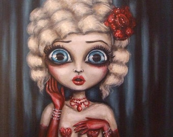 STAGE FRIGHT  big eye blond burlesque glitter  sexy girl  performer GICLEE print by Nina Friday