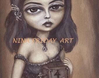 GALINA'S music BOX number 4   big eye gothic Victorian girl GICLEE print by Nina Friday