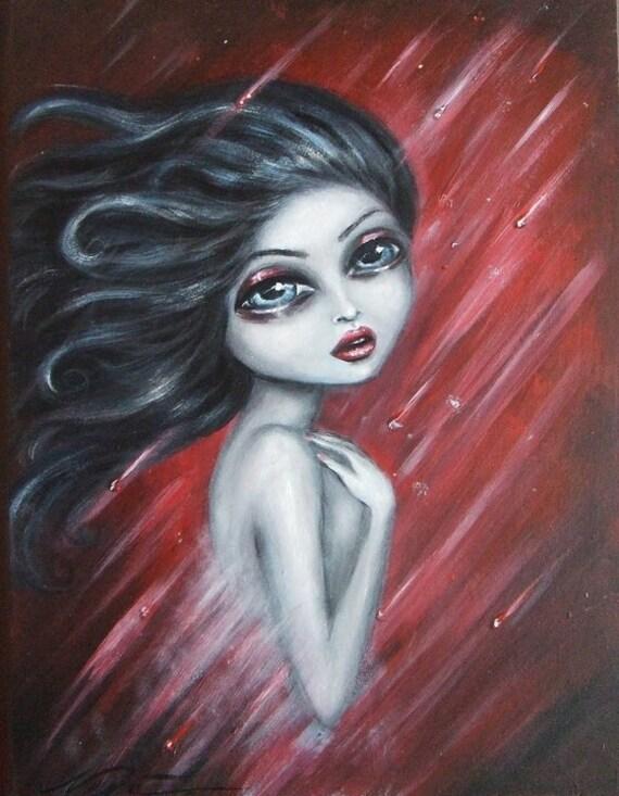 FRAGILE big eye dark haired nude under the ruby rain giclee PRINT by Nina Friday