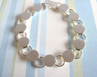 10 Disk Loop Glue On Bracelets 7.2 inch - Silver Plated