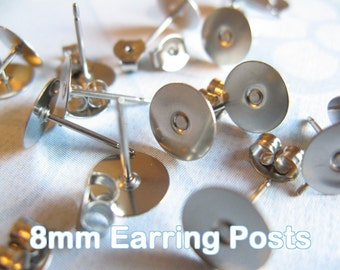 200pcs (100 pairs) Surgical Stainless Steel 8mm Flat-Pad Earring Posts and Backs glue on diy jewelry finding supplies