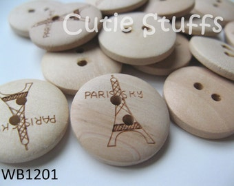 20mm Wood Buttons - Tour Eiffel - Set of 6