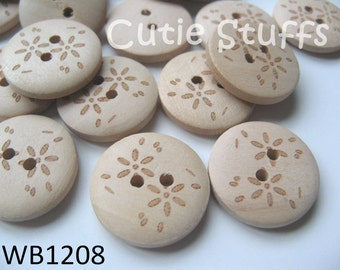 20mm Wood Buttons - Small Flowers - Set of 6