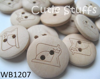 20mm Wood Buttons - Sewing Machine - Set of 6