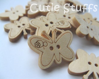 23mm Wood Buttons - Butterfly - Set of 10