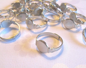 12 Adjustable Ring Blanks - 10mm pad - silver