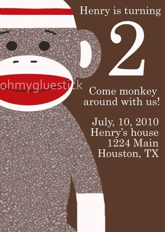 Original Sock Monkey Big Head Invitation by Oh My Gluestick