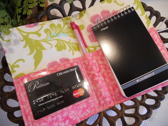Folded NOTE TAKER and Organizer Portfolio with Clear Vinyl ID Window
