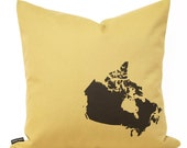 Map of Canada Pillow Cover in Mustard