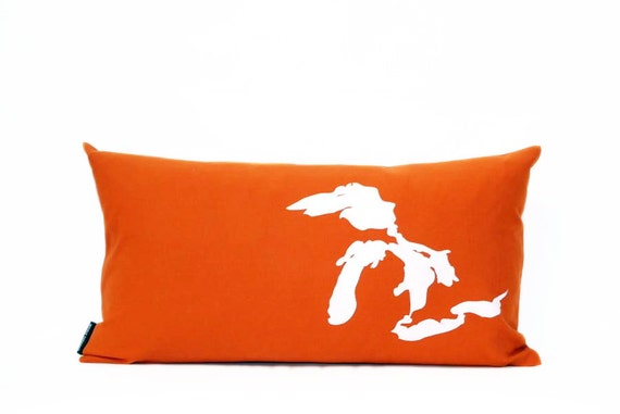 Great Lakes Pillow in Orange with fill