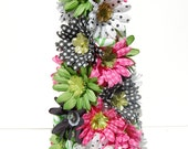 Sassy pink, green, and black flower tree