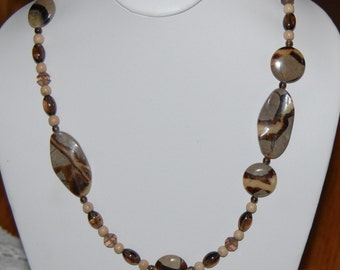 Unique Serpentine Agate & Smoky Quartz Necklace