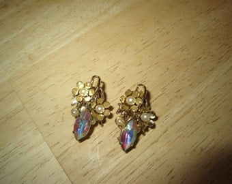Aurora Borealis and Pearl Clip Earrings