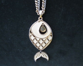 Enamel and Gold toned Fish Pendant Necklace