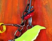 Found Objects Bird, Heart & Lure Trinket Necklace