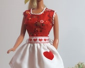 Barbie Red Dress and Heart Apron