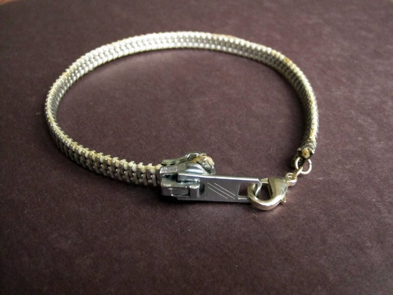 SALE - CUSTOM White Aluminum Zipper Bracelet