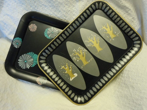 Vintage Mid Century Modern Trays, Serving Tray - Atomic Aqua and Pink, Four Seasons