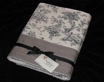ABC -  Central Park  - Toile Baby/Toddler  Blanket - Checked Border & Soft MINKY DOT Reverse