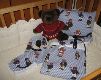 ABC Deluxe Baby Blanket Set - 5 Pieces Featuring Ralph Lauren Polo Teddy Bears Fabric