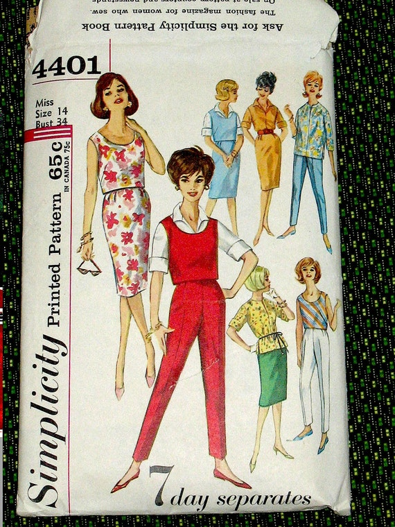 Vintage Simplicity 4401 sewing pattern from the 1960s.  Bust 34 inches.