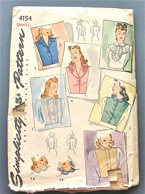 "Simplicity 4154 from the 1940s.  Misses and Women's dickey set...""smartly tailored notched collar""  Bust 32-34 inches"