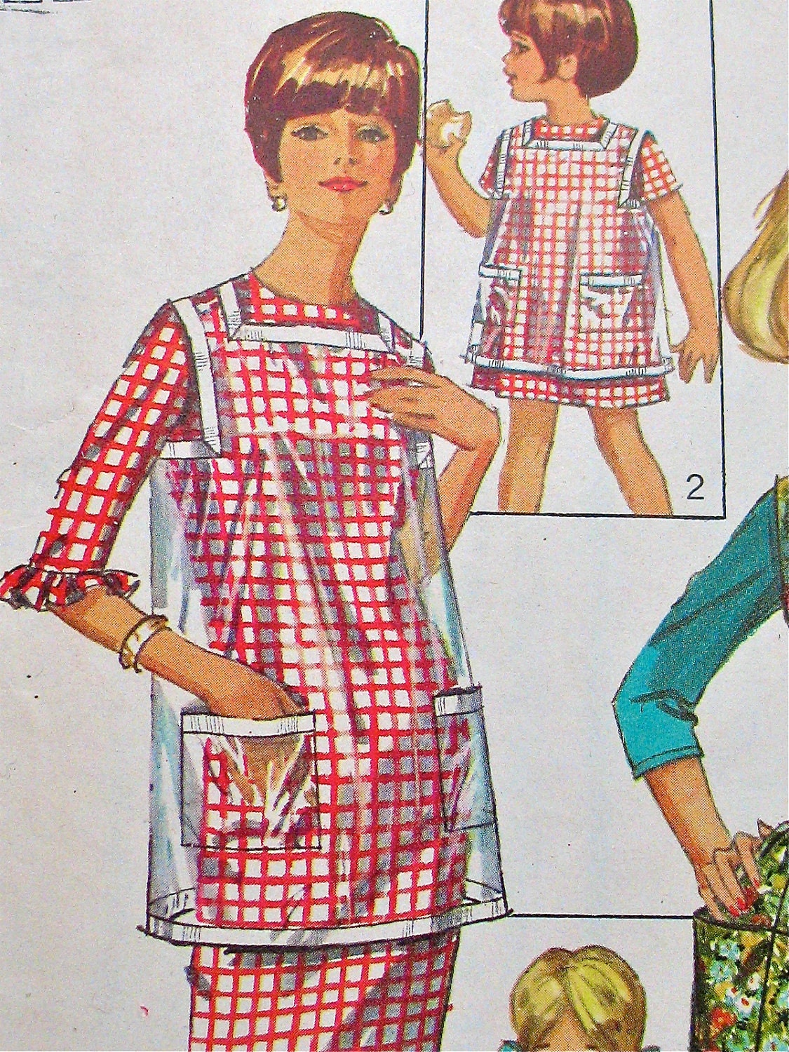 60s Simplicity 6809 Misses Cobbler Apron Clear Vinyl Fabric or