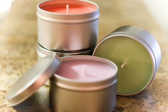 SALE- 3 for 20 - 8oz Soy Candle Travel Tins Sex on the Beach, Kiwi, Strawberry - SALE