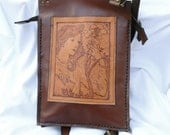 Engraved Leather Messenger Bag - FREE SHIPPING