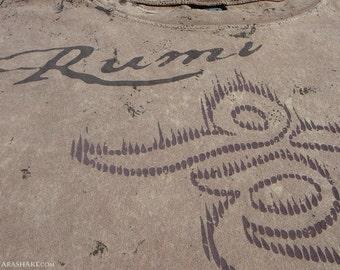 RUMI shirt, Persian Sufi silkscreen print tshirt