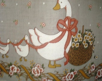 VINTAGE  ducks basket floral cafe curtains  2 panels