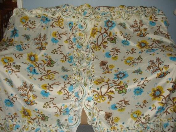 Vintage Ruffle Floral Curtain Drape 2 Panels 2 Tiebacks sale