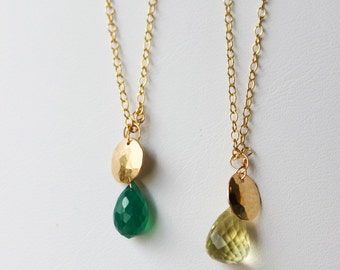Gold Disc and Gemstone Necklace - pick your stone