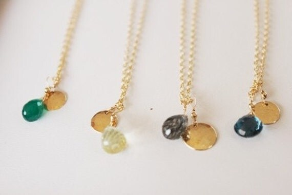 Personalized Gemstone Necklaces in 14k Gold Filled or Sterling Silver
