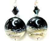 Moon Earrings, Crescent Moon, Celestial Earrings, Moon Jewelry, Solar System, Lampwork Earrings, Black Ivory White  Earrings Space  Midnight