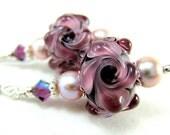 Purple Flower Earrings, Purple Lampwork Glass Bead Earrings, Mauve Pearl Sterling Silver - Purple Passion