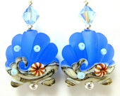 Earrings Sapphire Blue Scallop Seashell Lampwork Crystal Sterling Silver - Deep Blue Ocean