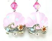 Pink Seashell Earrings, Scallop Shell Lampwork Glass Bead Earrings, Pink Shell Earrings, Pink Earrings - Pink Sands