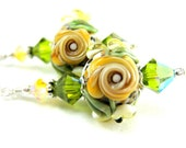 Earrings Gold Rose Yellow Green Floral Lampwork Crystal Sterling Silver - Walk On The Wild Side