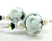 White Rose Earrings, Black White Rose Lampwork Earrings, Black White Glass Bead Earrings, Black and White Earrings - An Affair to Remember