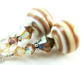Lampwork  Earrings Ivory Caramel Brown Spiral Crystal Sterling Silver Neutral Tones - Frappuccino