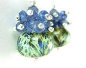 Blue Green Boro Earrings, Blue Green Glass Earrings, Blue Iolite Gemstone Earrings, Lampwork Earrings, Rustic Earrings - Rustic Elegance
