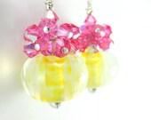 Glass Bead Earrings, Gold Yellow Boro Lampwork Earrings, Rose Pink Crystal Earrings, Cluster Sterling Silver - Sunrise
