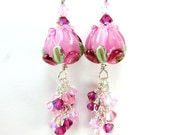 Pink Glass Rose Earrings, Hot Pink Tulip Lampwork Earrings, Tulip Earrings, Hot Pink Flower Earrings - Pleasingly Plump Pink Tulips