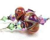 Purple Glass Bead Earrings, Purple Tangerine Boro Lampwork Earrings, Chevron Stripe Earrings, Purple Earrings - Colorful Chevron Stripes