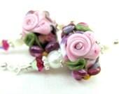 Pink Rose Glass Bead Earrings, Pink Cameo Rose Purple Floral Lampwork Earrings, Flower Earrings, Rose Earrings - Ingénue