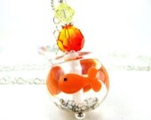 Goldfish Necklace, Fish Bowl Lampwork Necklace, Goldfish Orange Yellow Crystal Sterling Silver - One Fish, Two Fish, Three Fish