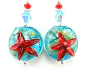 Starfish Earrings, Aqua Blue Red Starfish Lampwork Earrings, Red Blue Ocean Earrings, Red Turquoise Blue Glass Earrings - Star of the Sea