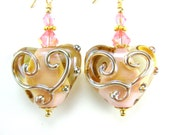 Pink Heart Earrings, Pink Gold Glass Lampwork Heart Earrings, 14k Gold Filled Earrings, Pink Glass Earrings - Precious Memories