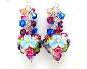 Colorful Floral Lampwork Bead Earrings, Orange Purple Blue Pink Glass Bead Earrings, Colorful Earrings -  Flowers In Paradise